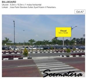 Papan Baliho di Lapangan Parkir Bandara Pekanbaru, Riau